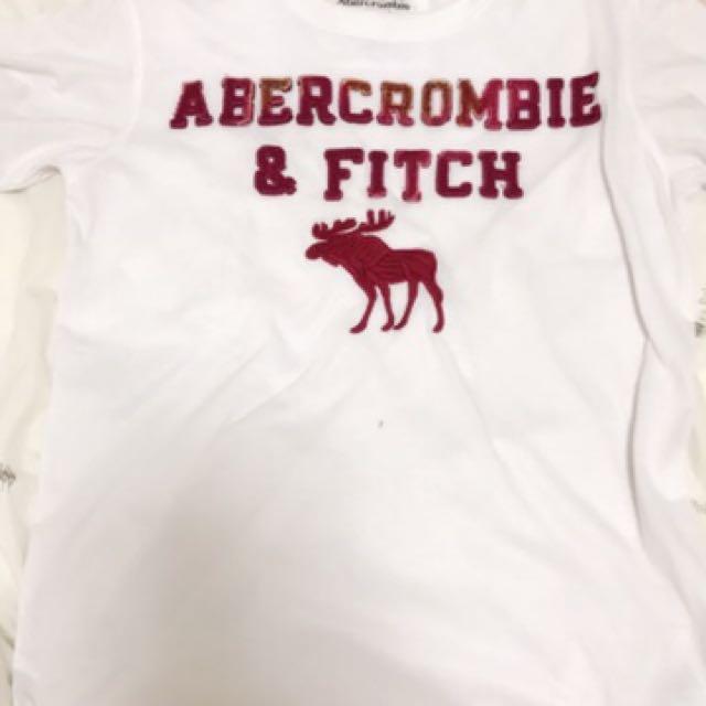Abercrombie & Fitch經典款刺繡T桖男女可穿S