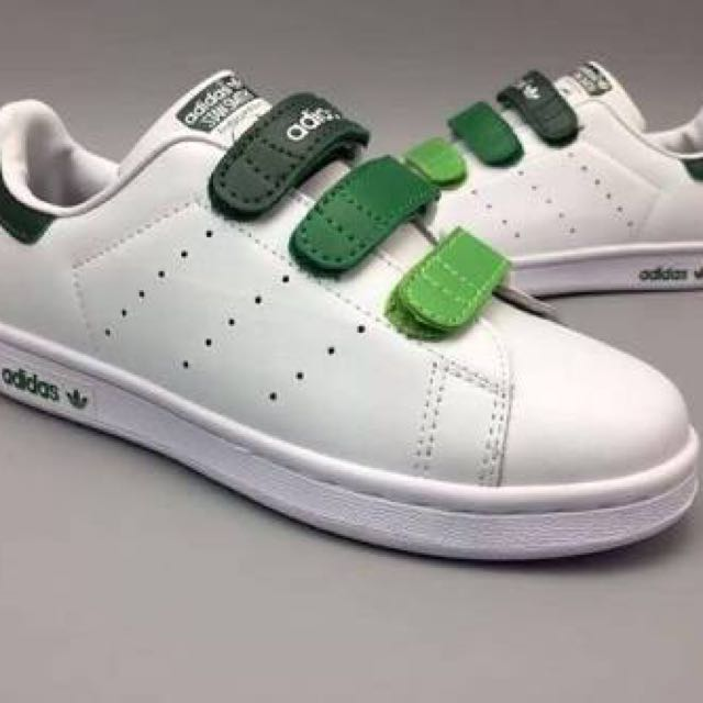 ADIDAS Stan Smith Velcro Gradient Buckle White/Green Sneakers, Women's Fashion, Shoes on Carousell