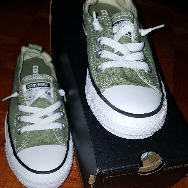Army Green Converse Shoes - 5.5