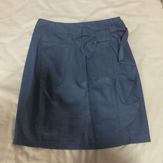 Blue Skirt With Bow