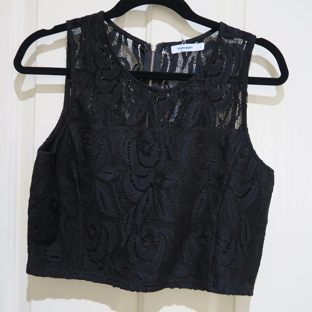 BNWT Black Lace Crop Top