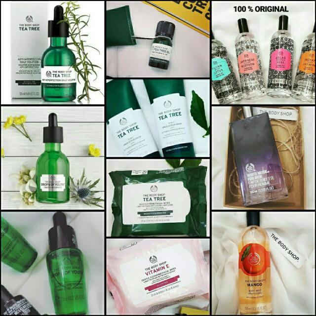 body shop parfume, drops of youth, edp, body mist, tissue basah