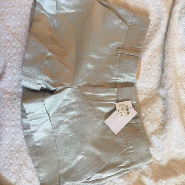 Brand New With Tags Club Monaco Shiny Silver Shorts