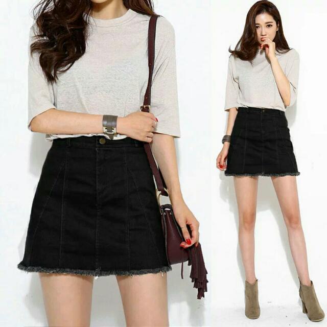Denim High Waist Black Skirt