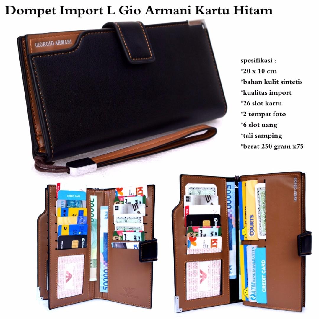 Dompet Kartu Pria L Armani Import hitam 4057ef1282