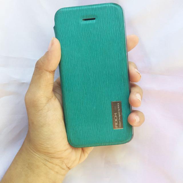 Iphone flip 5s case turqoise transparan