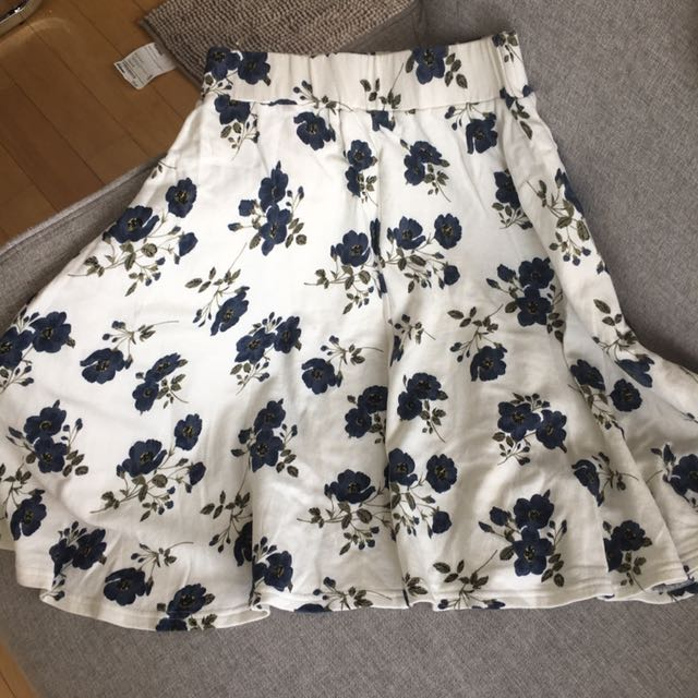 Ivory Floral Cotton Skirt (OS)