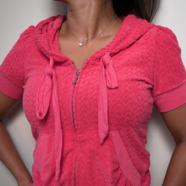 JUICY COUTURE Pink Terry Zipup Hoodie M