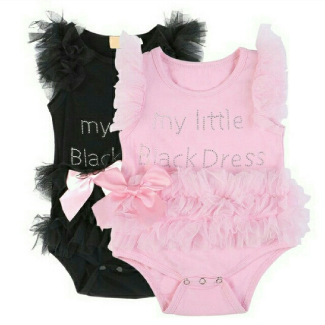 a5313b374 Kids Baby Girl Embroidered My Little Black Dress Bodysuit Jumpsuit ...