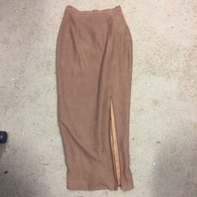 Long Brown Skirt With Slit Size 6