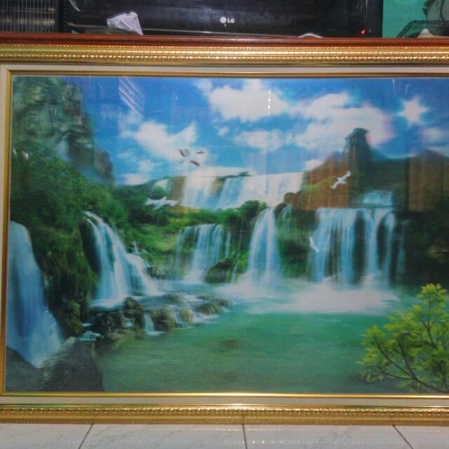 lukisan/ gambar 3d air terjun