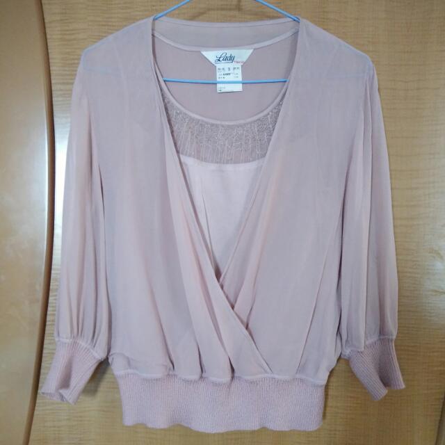 絲質粉紫色縮腰上衣,M