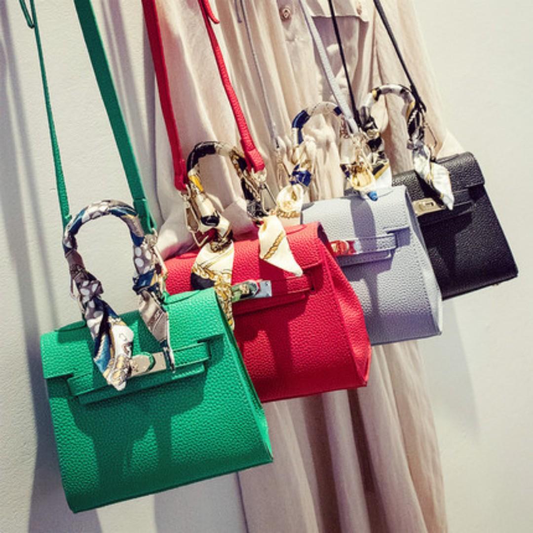 【精品包】荔枝紋凱莉包mini版手提小包包-紅色