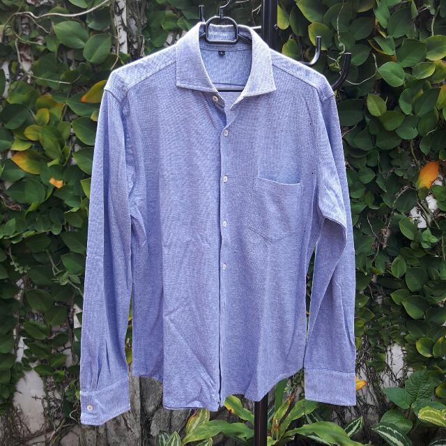 Muji Blue Long-Sleeved Shirt