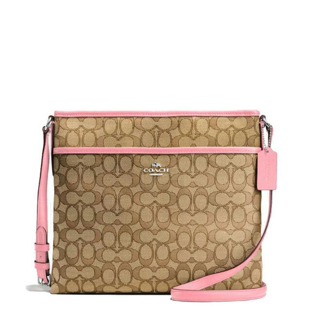 New Authentic Coach Sling Bag Pink Light Brown