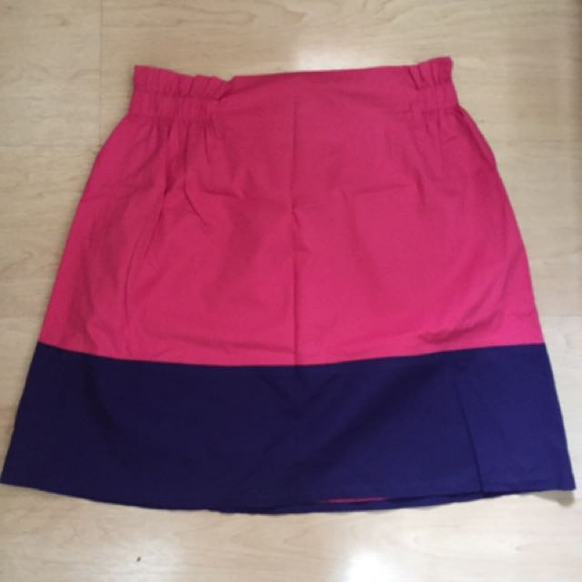 PLAINS AND PRINTS pink and blue skirt