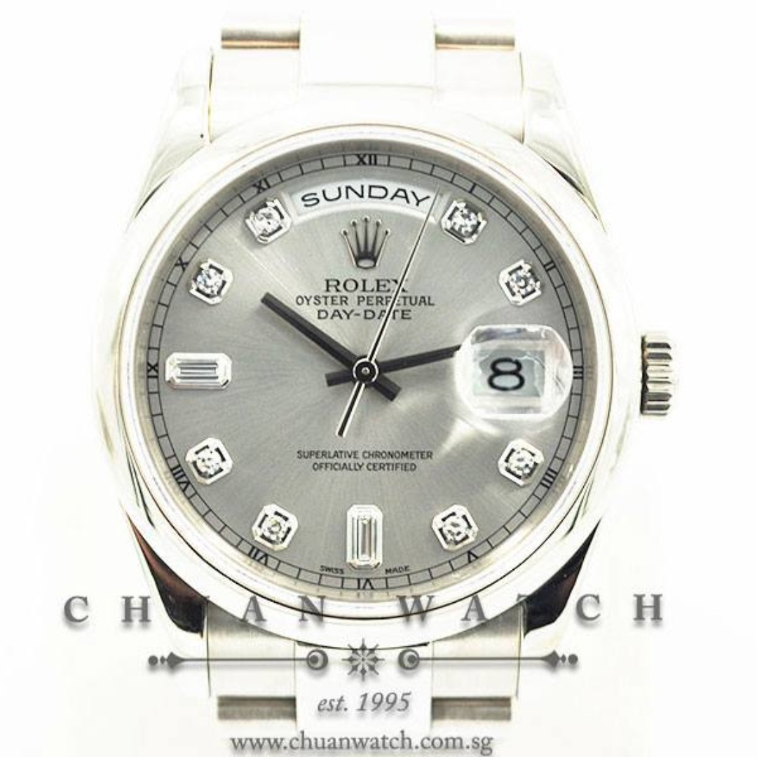 b2ef89d9dcf Pre-Owned Rolex Day-Date President 36mm 118209 Rhodium Sunburst ...