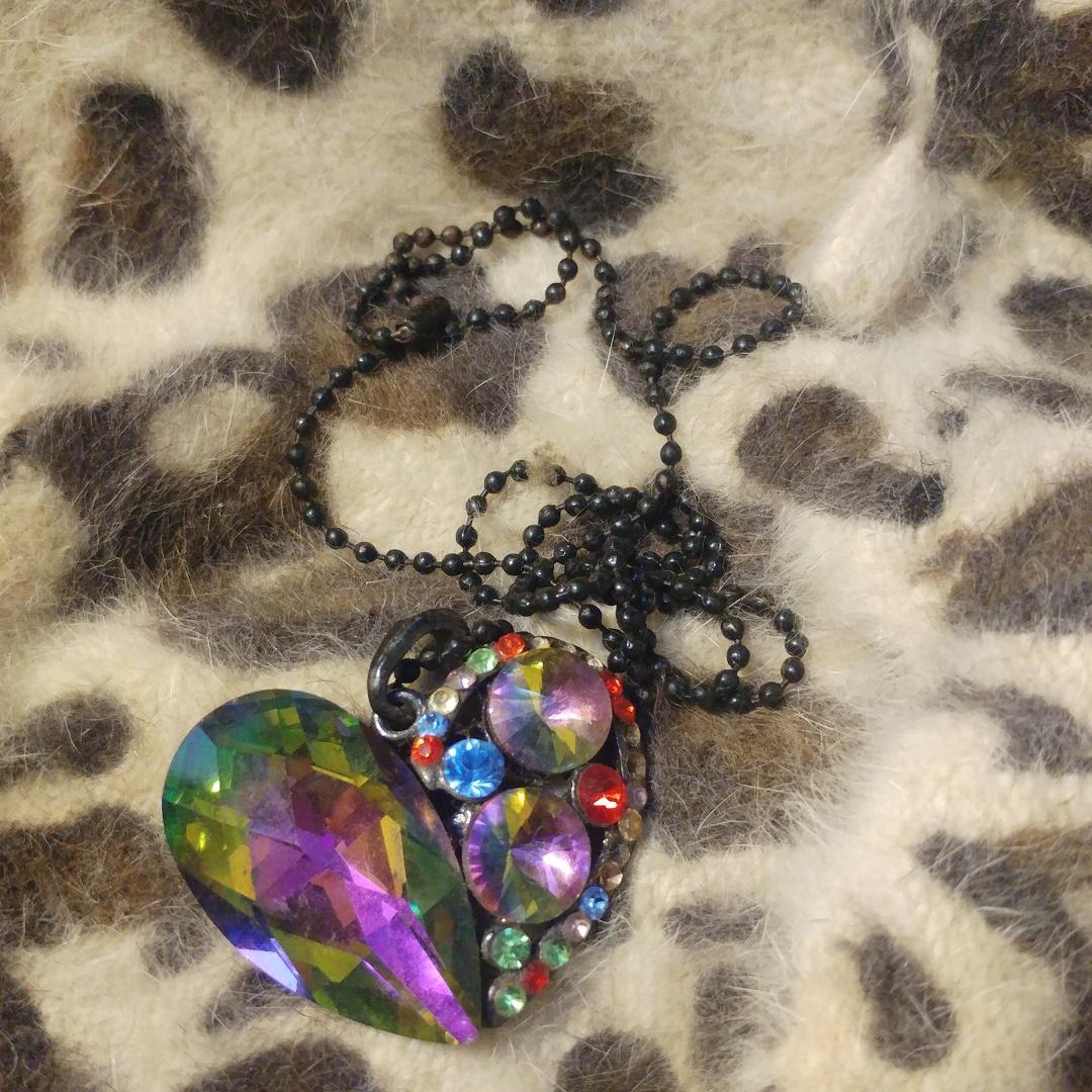 Rainbow Heart Long Necklace