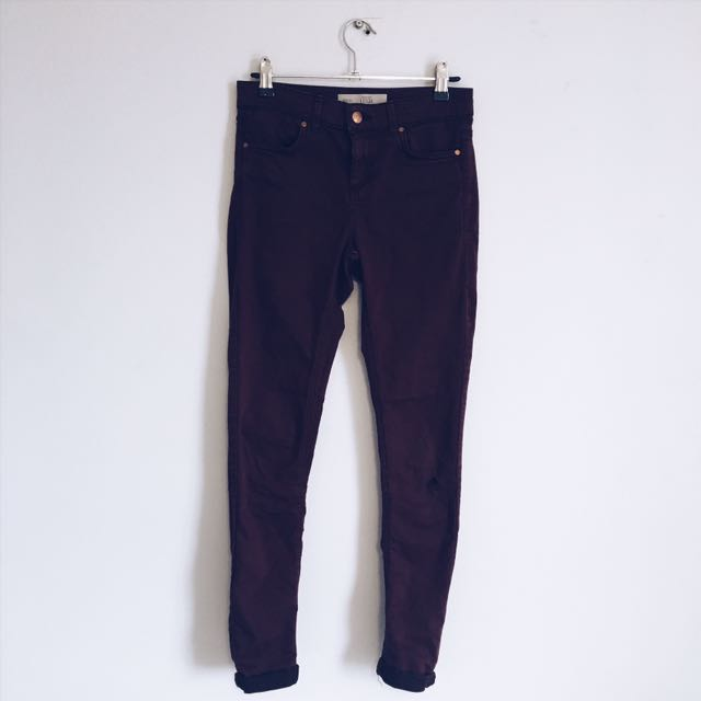 TOPSHOP Moto Leigh maroon jeans