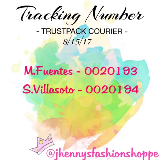 TRACKING NUMBER 8/15/17