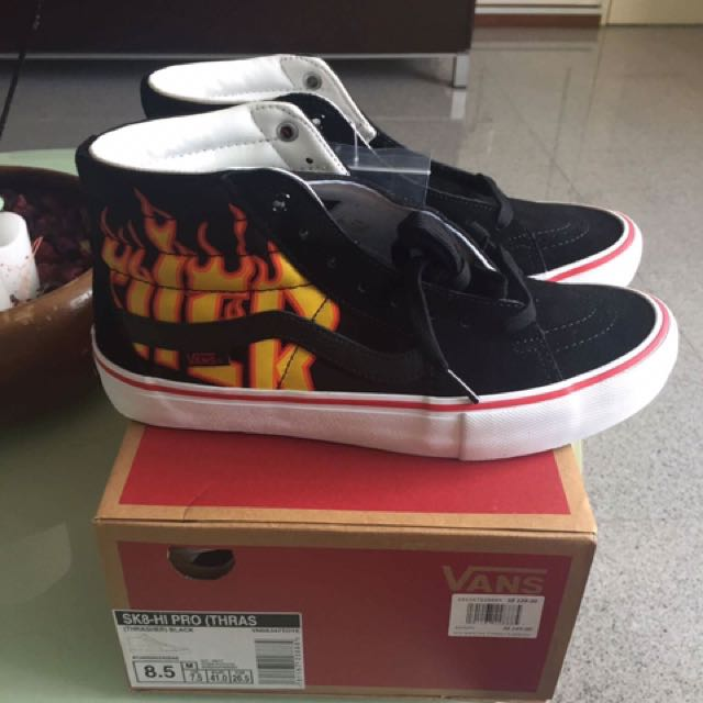 354cbeed06 Vans x Thrasher SK8 Hi Pro Flames Black Shoes