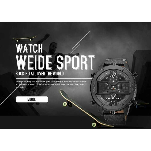 Weide Japan Quartz Leather Strap Men Sports Watch - WH6401