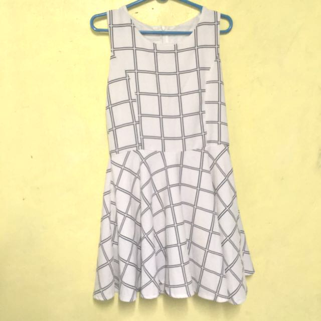 White Checkered Dress