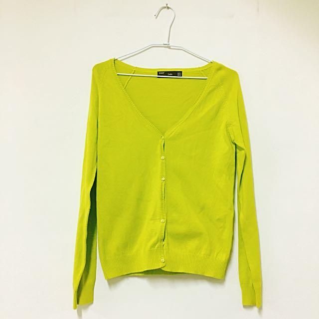 Zara螢光黃針織衫