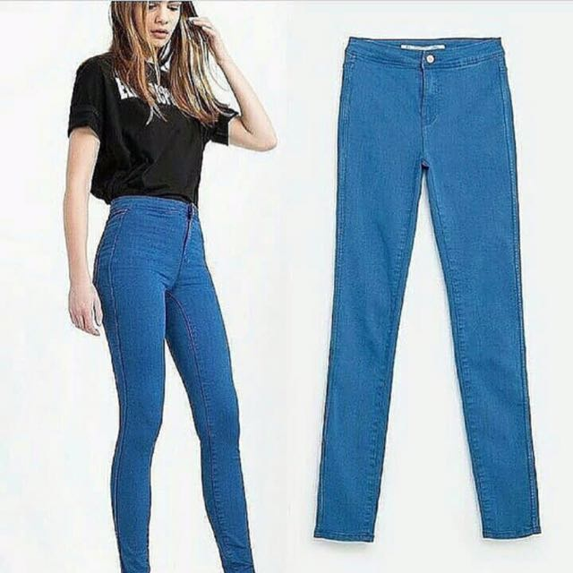 Zara High Waist Denim Pants Overrun