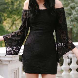 FASHMOB Kyla Lace Dress (Black/S)