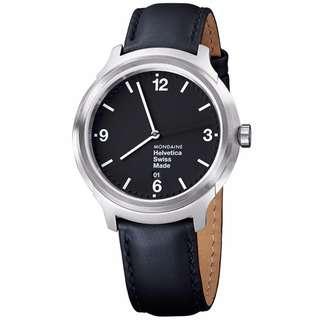 MONDAINE 瑞士國鐵設計系列腕錶-黑/43mm