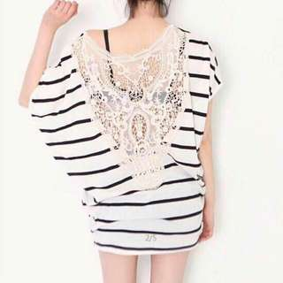 batwing lace back loose blouse