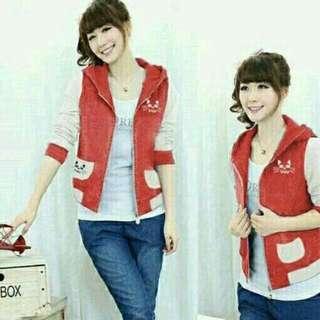 Jaket Wanita Chaty Merah Dan Hitam