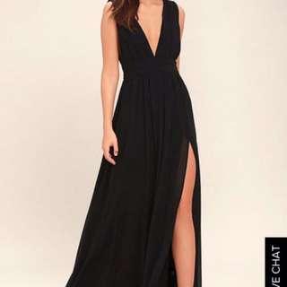Lulu's Heavenly Hue's Black Maxi Dress