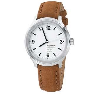 MONDAINE 瑞士國鐵Helvetica Bold設計系列腕錶-白/34mm