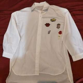 White Polo With Patches