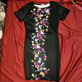 Floral Black Dress (small)