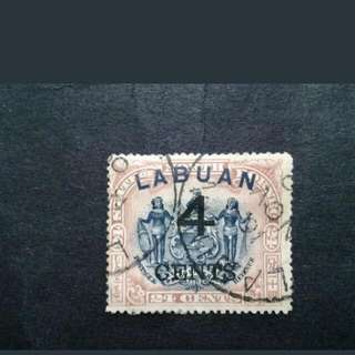 1899 Labuan Overprint 4cents On North Borneo 24c - 1v Used Malaya Stamps