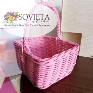 Pink Rattan Basket
