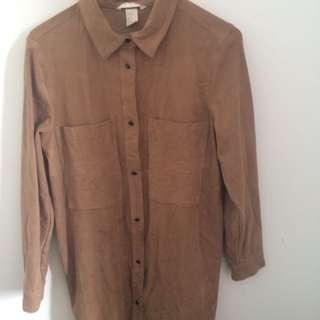 Suede Golden Long Shirt/Dress