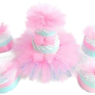 Tutu Princess Diaper Cake Centerpiece For Baby Shower