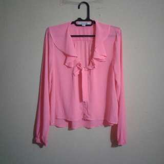 Blouse Orange Pink Neon Forever 21