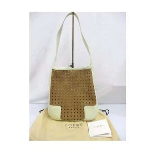 LOEWE suede leather mesh tote handbag beige off white one handle bag with storage bag (SHIP FROM JAPAN)