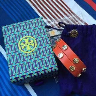 Authentic Tory Burch Double Wrap Logo Stud Bracelet