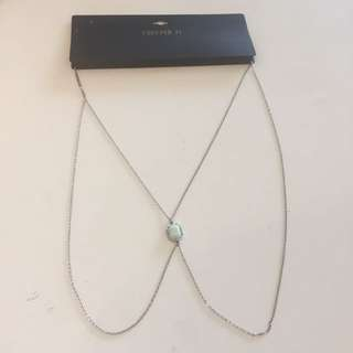 F21. Necklace Silver/mint