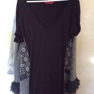 Tiger Lily Black Tee Shirt Dress, Tiger lily Blue Denim Mini Skirt