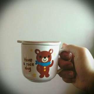 附蓋可愛小熊馬克杯