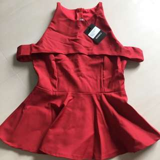 Bnwt Dressabelle Cold Shoulder Peplum Blouse S