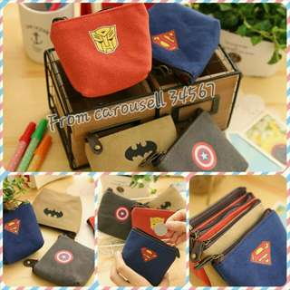 Super Hero Coin Pouch Bag Organizer Superman Trasformer Captain America [Instock][Bread New][Free Normal Mail]
