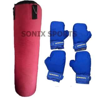 Punching Bag XL (red) with Punching Gloves (Set of 2)